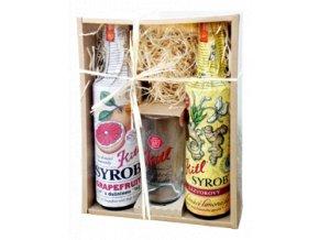 Dárková sada Syrob Grepový a zázvorový - grepový a zázvorový sirup se sklenicí 2x0,5l Kitl