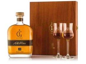 Grappa Marzadro Le Giare Amarone Legno v dřevěné kazetě + 2 skleničky 0,7 L 41%