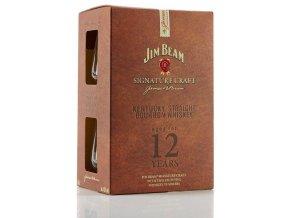 Jim Beam Signature Craft 12yo 0,7 l dárkové balení se skleničkami