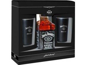 Jack Daniels dárkové balení 0,7 l + 2x originální plecháček