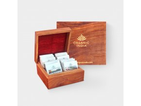 BIO Čaje Tulsi luxusní dárkový box - dřevěné balení 60 sáčků Organic India