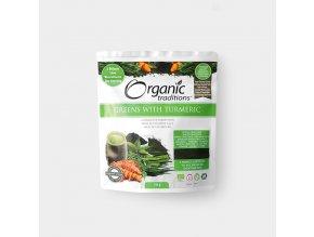 Super Greens s kurkumou - probiotická směs 150g Organic Traditions