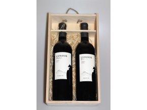Dárkové Balení vína Condor Peak v dřevěném balení 2x0,75l