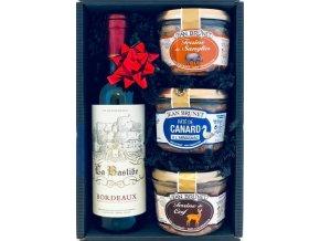 Dárkový koš Myslivecký s červeným vínem 0,375 l