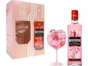 Gin Beefeater Pink v dárkovém balení se skleničkou 37,5% 0,7l