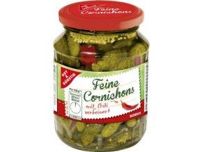 Feine Cornichons mit Chili - Nakládané okurky Cornichons s Chili 350g Edeka