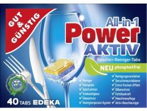 Power Aktiv All in 1 -  Tablety do myčky 40ks Edeka