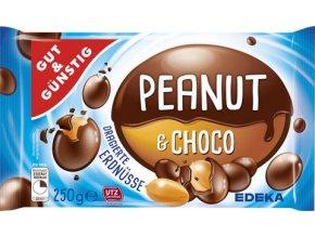 Peanut and Choco - Arašídy v hnědé čokoládě 250g Edeka
