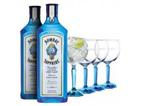 Gin Bombay Sapphire 2x1l a 4 originální skleničky