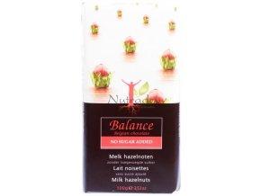 Balance mléčná s oříšky - mléčná čokoláda s lískovými oříšky bez cukru 100g