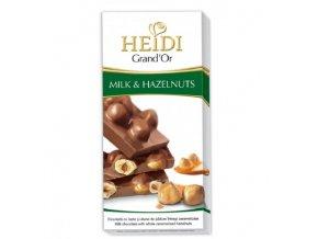 Heidi hořká čokoláda Grand´Or Milk s celými oříšky v karamelu 100g