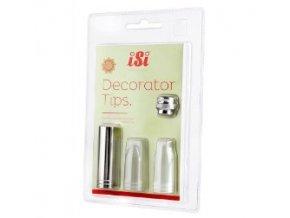 Decorator Tips - set 3 ks dekorační nástavce nerez + adaptér ISI