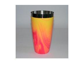 Koktejlový shaker pro barmany vinyl žlutočervený 0,7 l