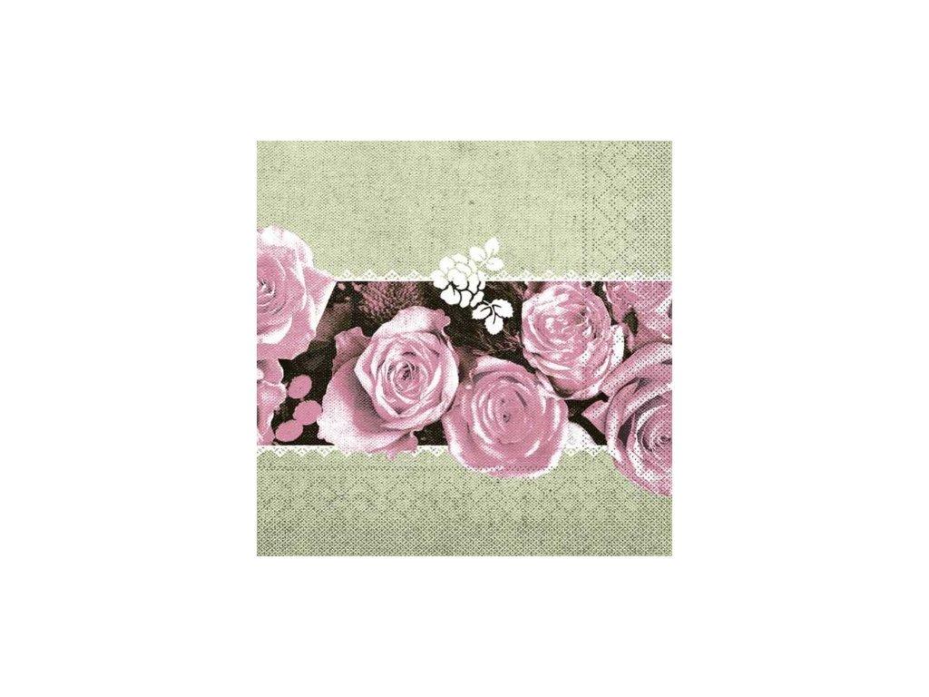 servitky papierove lovely roses 40x40cm ruzove mank