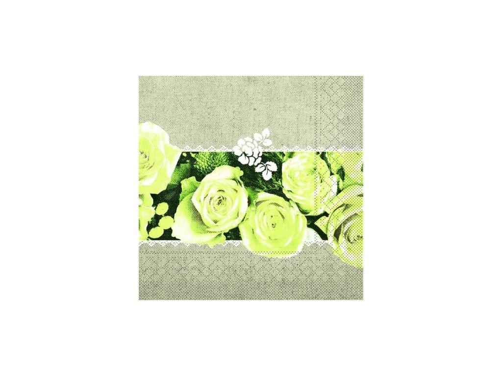 servitky papierove lovely roses 40x40cm hnede mank