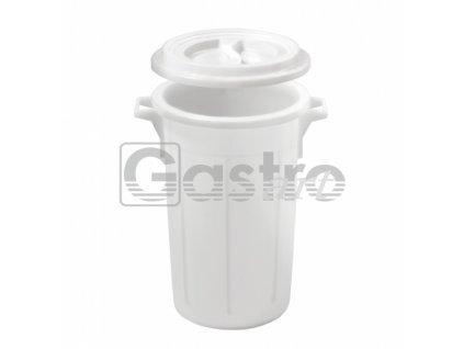 Koš na odpad s víkem 60 litrů - bílá