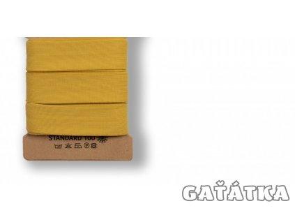 Bavlněný šikmý proužek 96% bavlny a 4% elastanu - CURRY