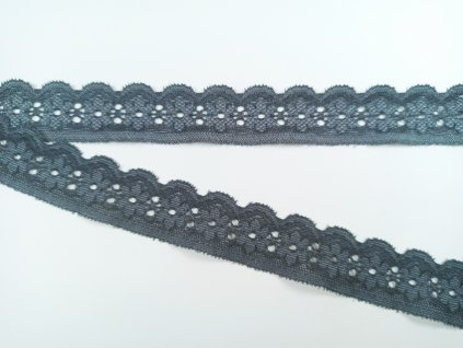 Pružná krajka 27mm - kytička - tmavě šedá