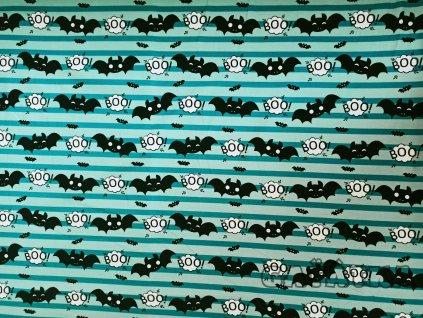 Bavlněný úplet s elastanem - Netopýr na zelené
