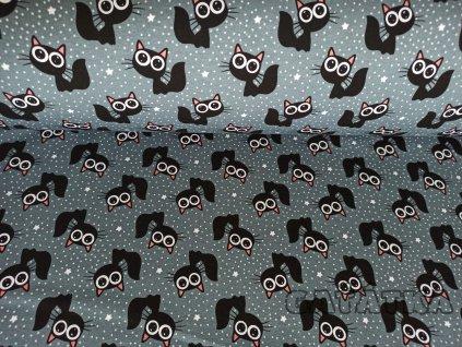 Bavlněný úplet s elastanem -  vykulené kočky