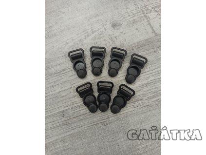 Velveta plastová - podvazkové zapínání - 12mm - černá