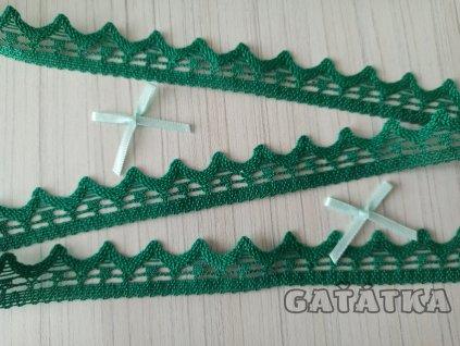 Paličkovaná krajka 21mm -  zelená