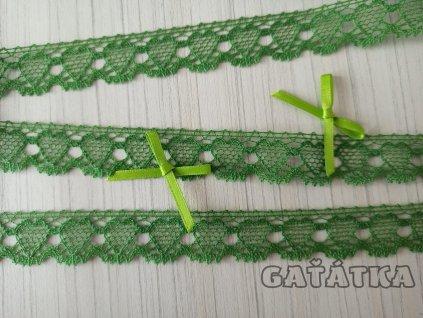 Paličkovaná krajka 19mm - zelená