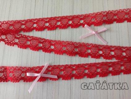 Paličkovaná krajka 19mm - červená