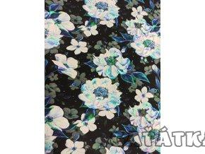 Bavlněný úplet - bílé květy - Předobjednávka