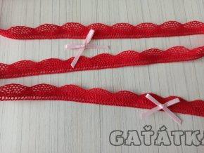Paličková krajka 17mm - červená
