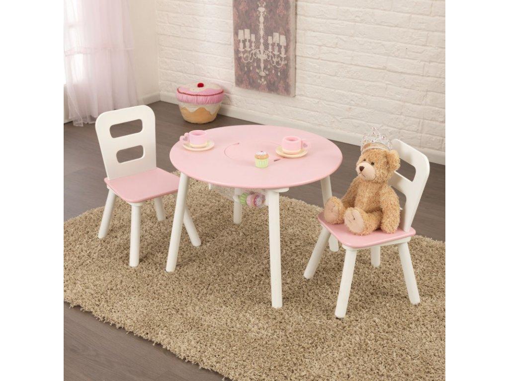 KidKraft Úložní stůl + 2 židličky  PINK