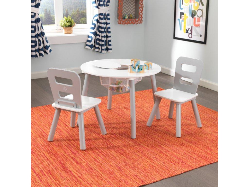 KidKraft Úložní stůl + 2 židličky  GREY WHITE