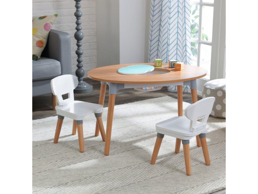 KidKraft Úložní stůl + 2 židličky  MID-CENTURY MODERN
