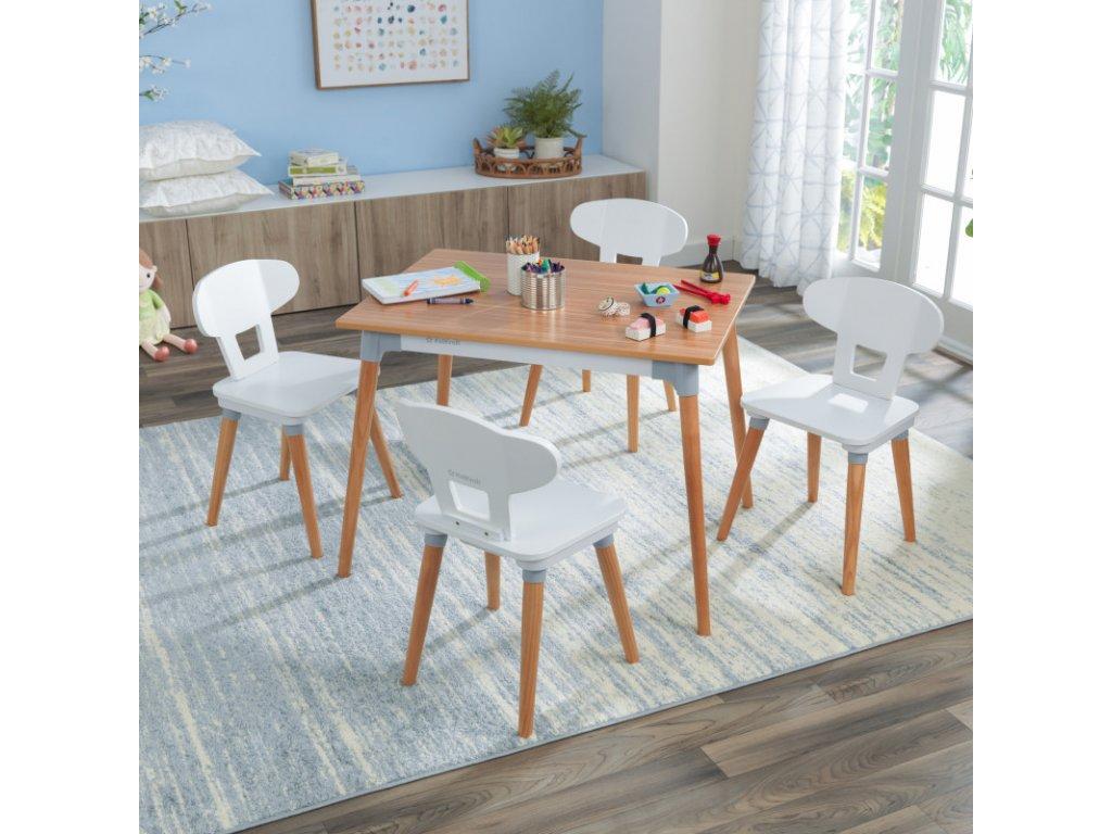 KidKraft Stůl + 4 židličky  MID-CENTURY MODERN