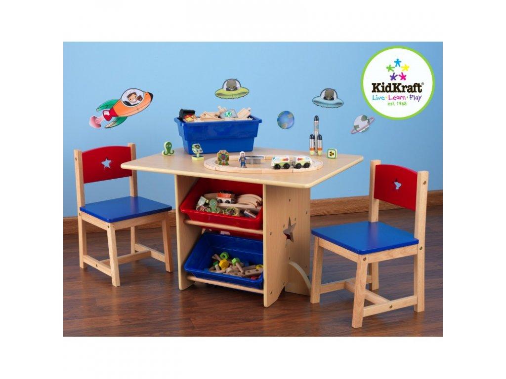 KidKraft Stolek + židličky HVĚZDIČKY s úložnými boxy