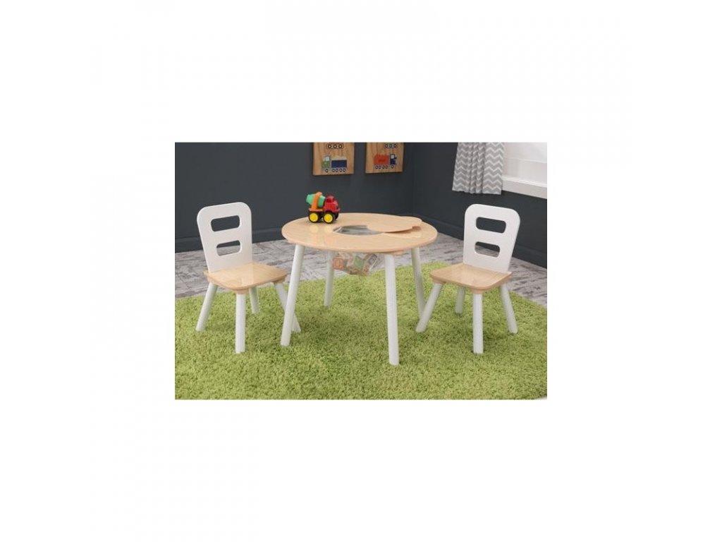 KidKraft Úložní stůl + 2 židličky  NATURAL WHITE