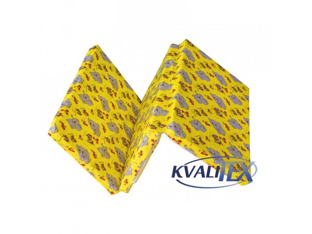KVALITEX Skládací matrace do postýlky - Slůňata žlutá