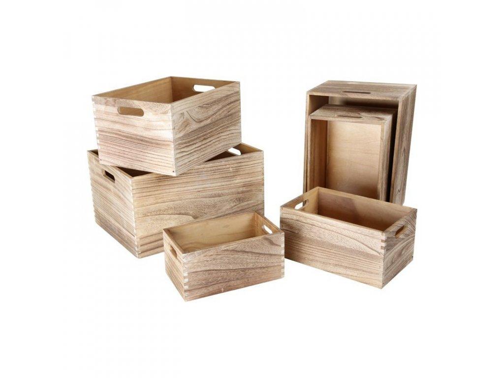 Dřevěné boxy NATURAL - set 6 ks