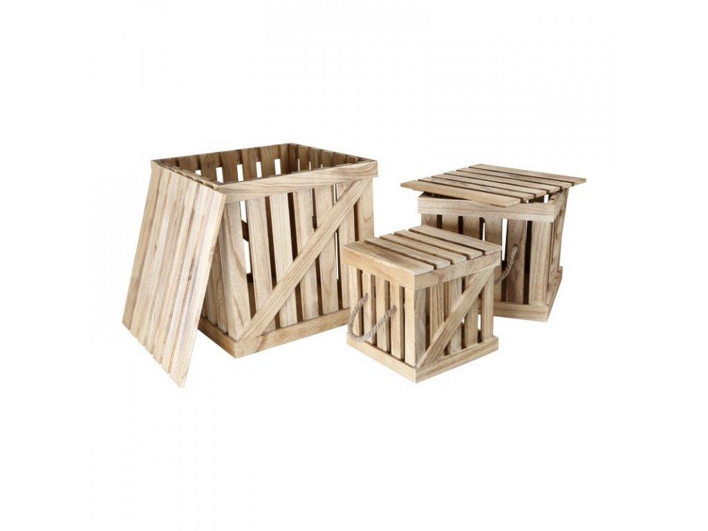 Dřevěné přepravky  RETRO - 3 KS