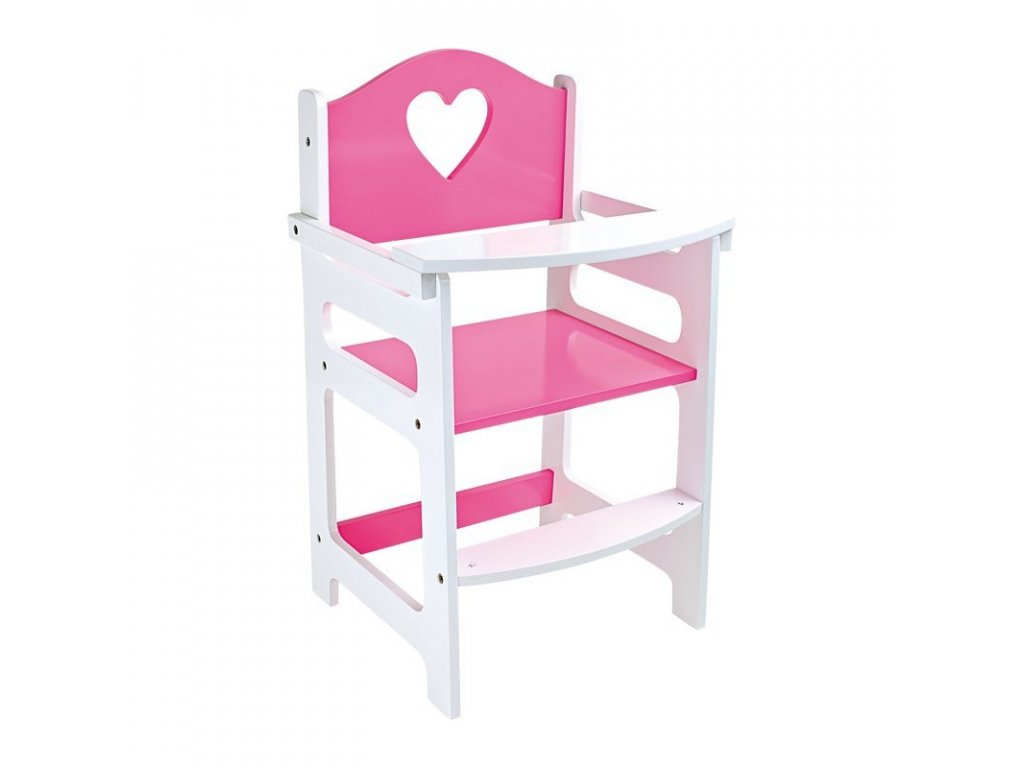 Jídelní židlička pro panenky PINK HEART