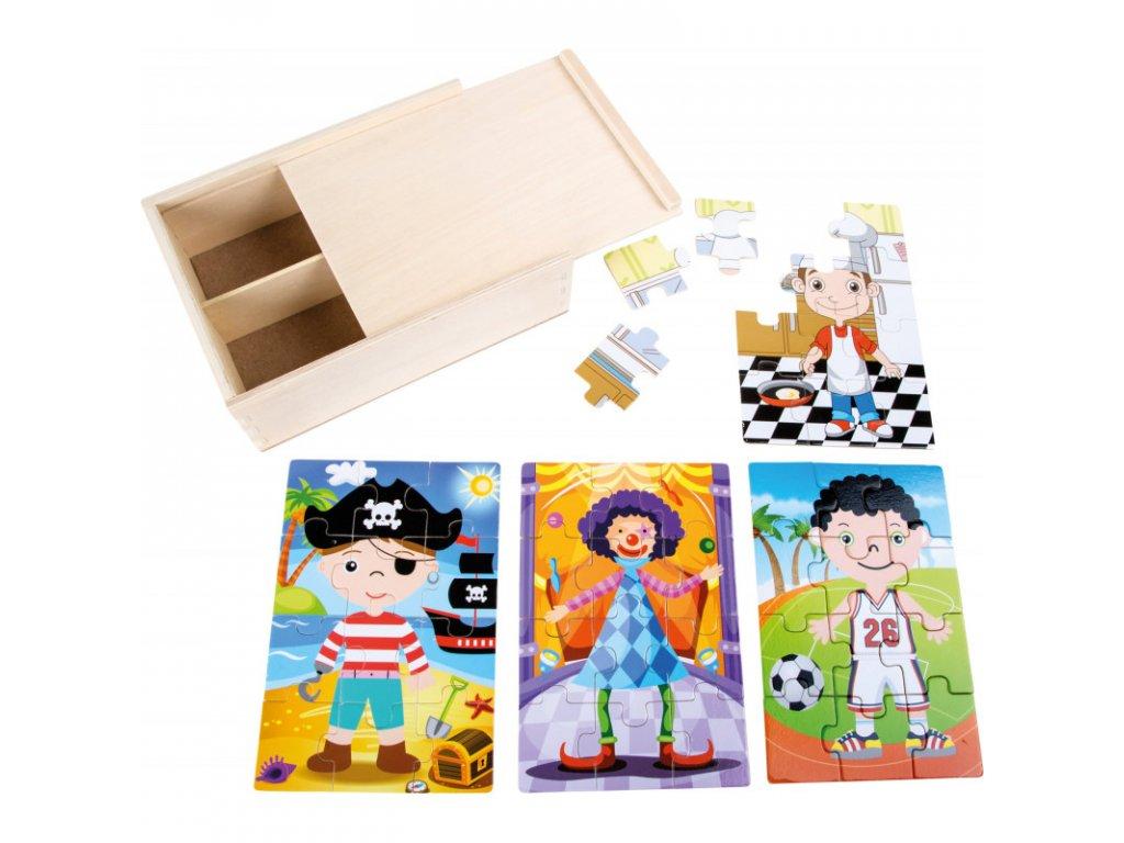Dřevěné puzzle 4v1 v boxu pro kluky