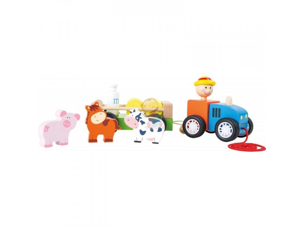 Traktor s farmářem a zvířátky - dřevěný , tahací