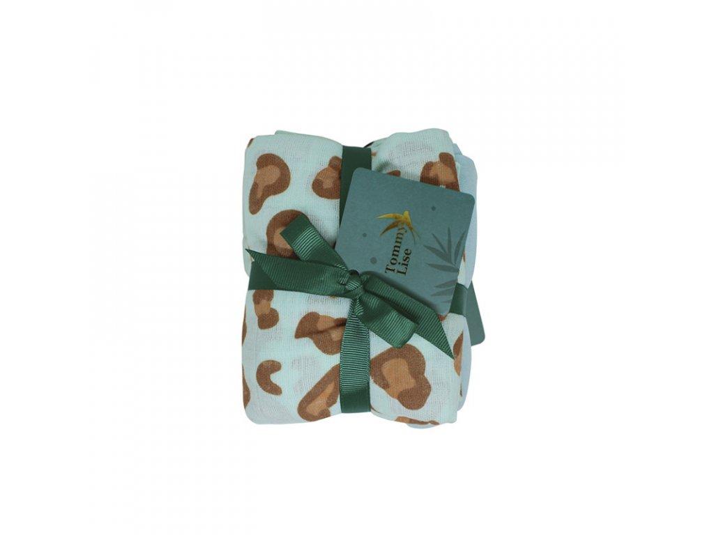 SET 2 KS -Bavlněná mušelínová plena BLUE LEOPARD 70X70 cm