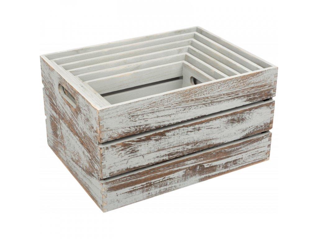 Dřevěné boxy VINTAGE GREY - set 6 ks