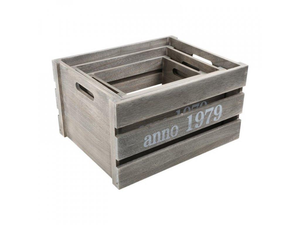 Dřevěné boxy CHIC RETRO- sada 3 ks