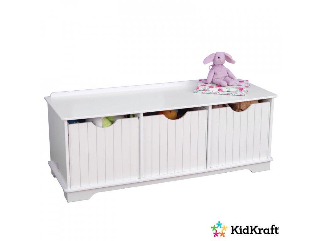 KidKraft Úložná lavice WHITE - dětský nábytek