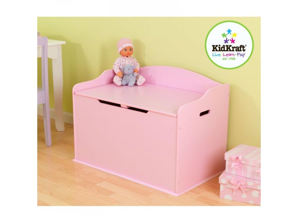 Úložná lavice AUSTIN RŮŽOVÁ - dětský nábytek