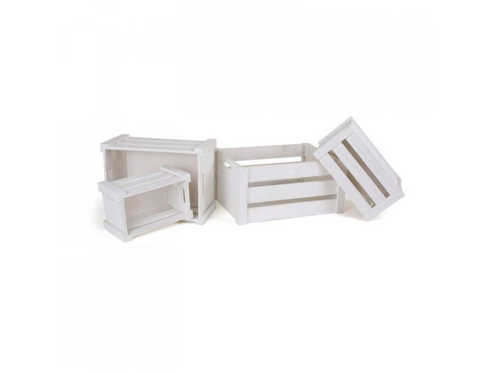 Dřevěné úložné krabice - sada 4 ks
