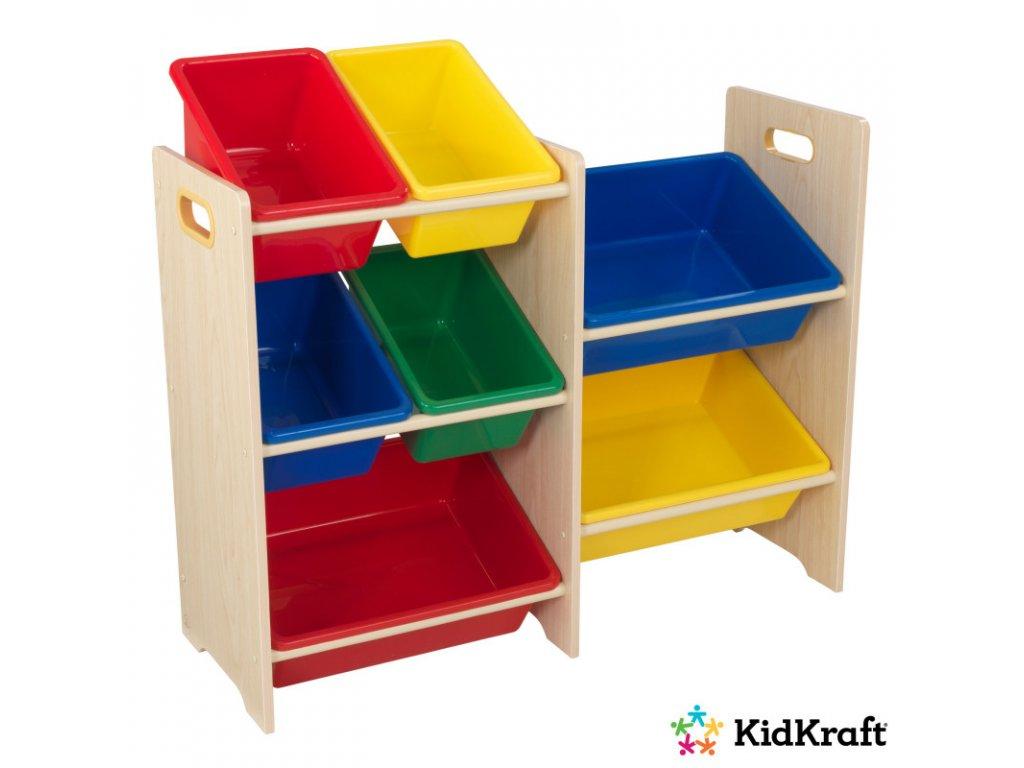 KidKraft regál s úložnými boxy 7 NATURAL