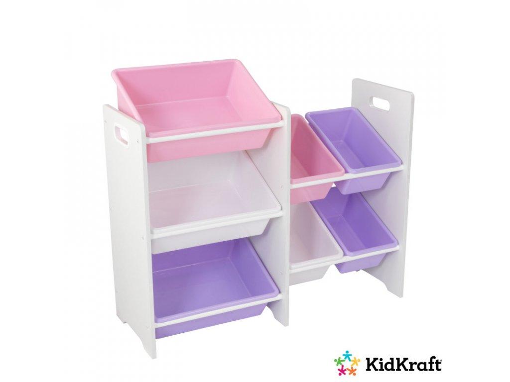 KidKraft regál s úložnými boxy 7 WHITE PASTEL